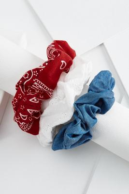 red, white & blue scrunchie set