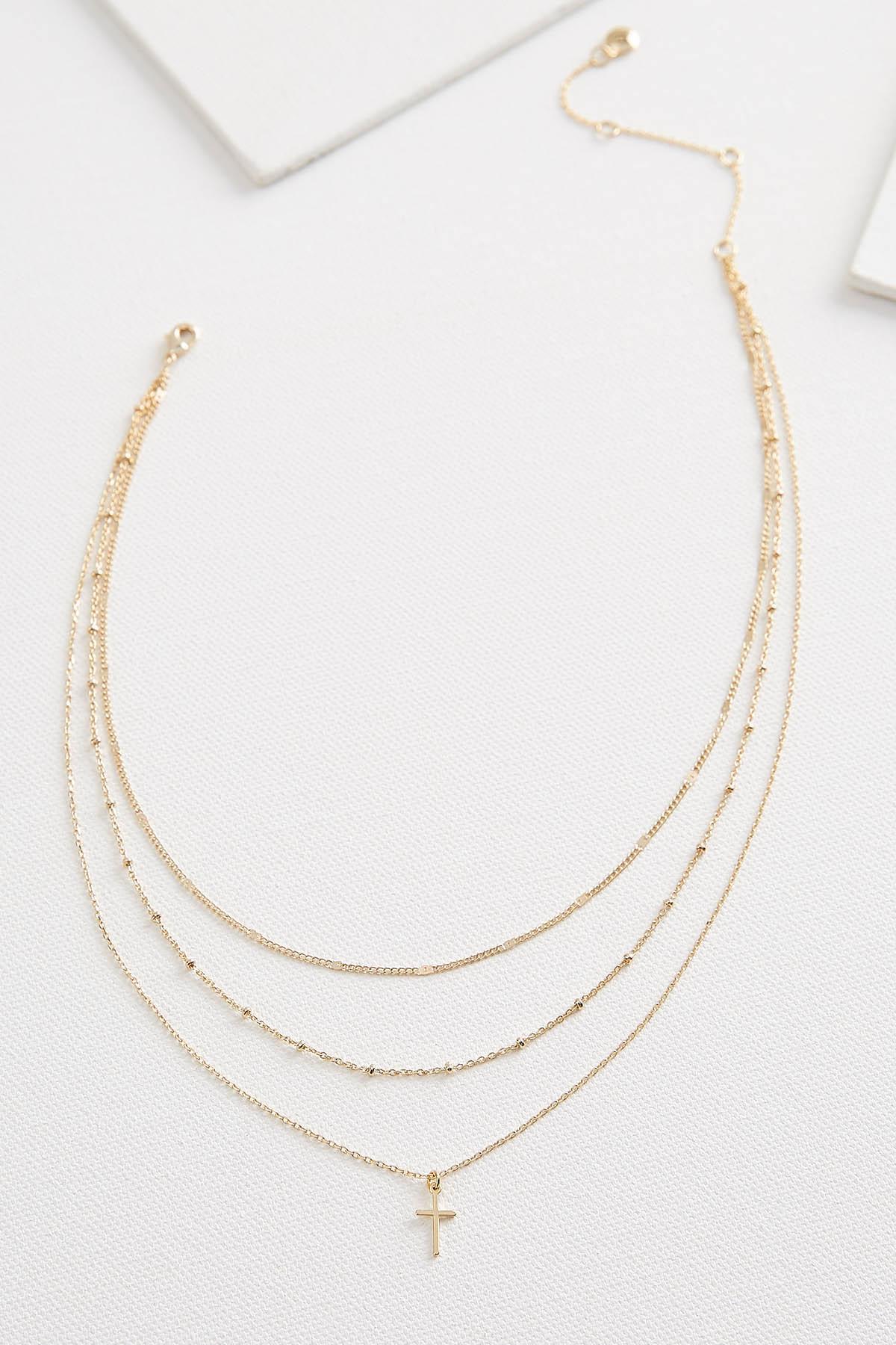 Layered Cross Pendant Necklace