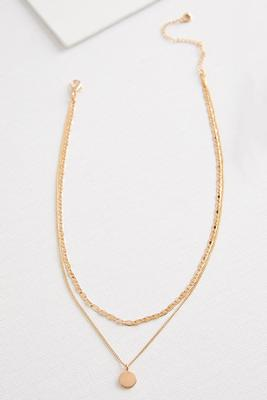 layered gold disk necklace
