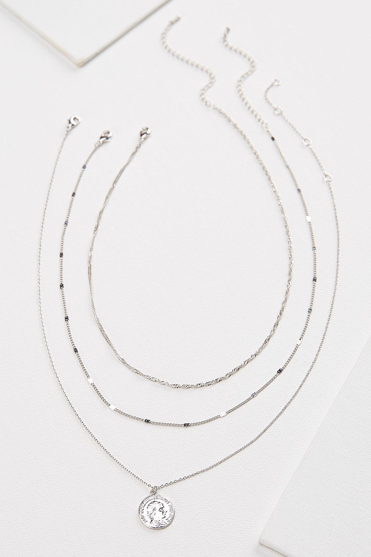 Layered Silver Coin Necklace
