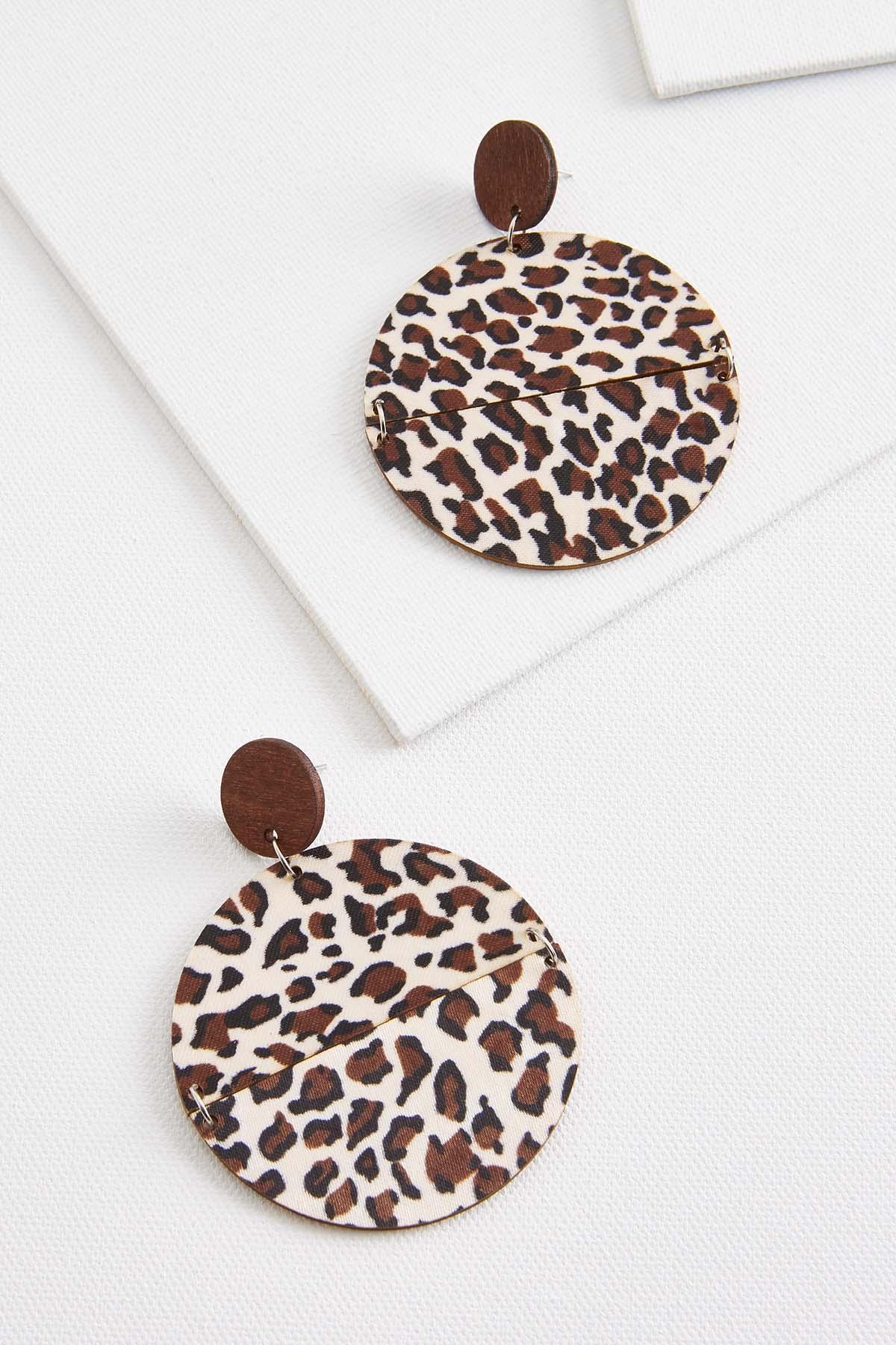 Wooden Leopard Earrings