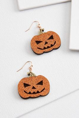 glitter pumpkin earrings
