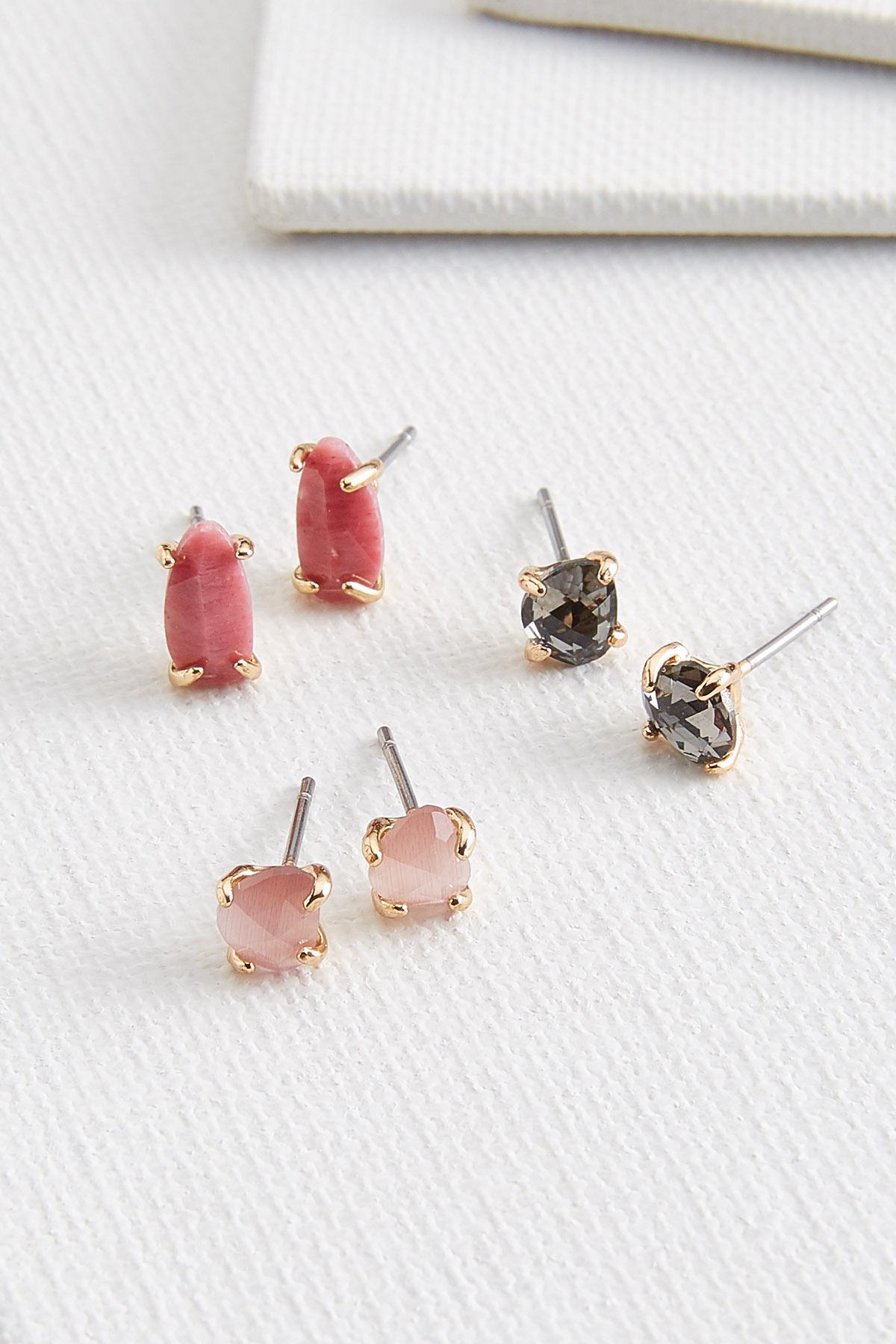 Pink Stone Earring Set