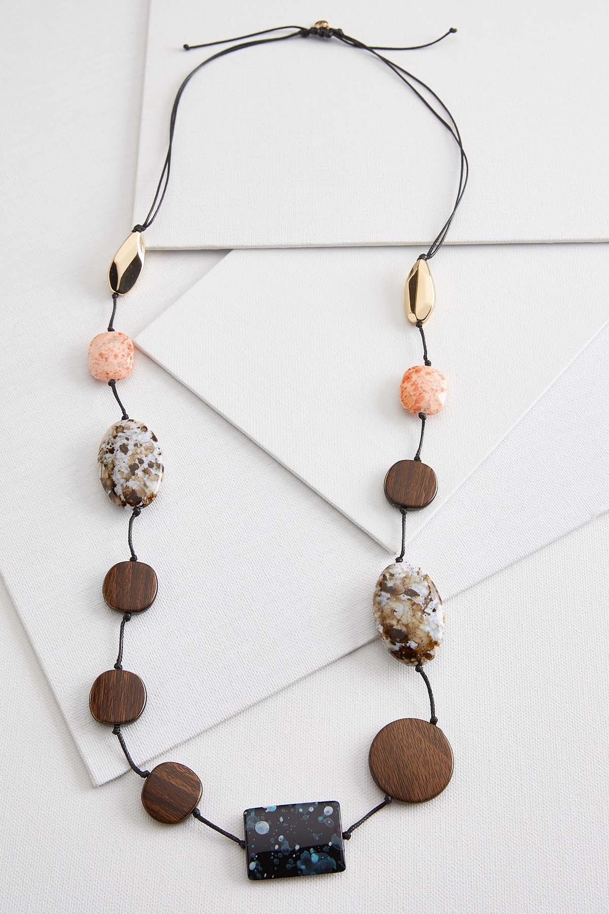 Stone And Wood Statement Necklace