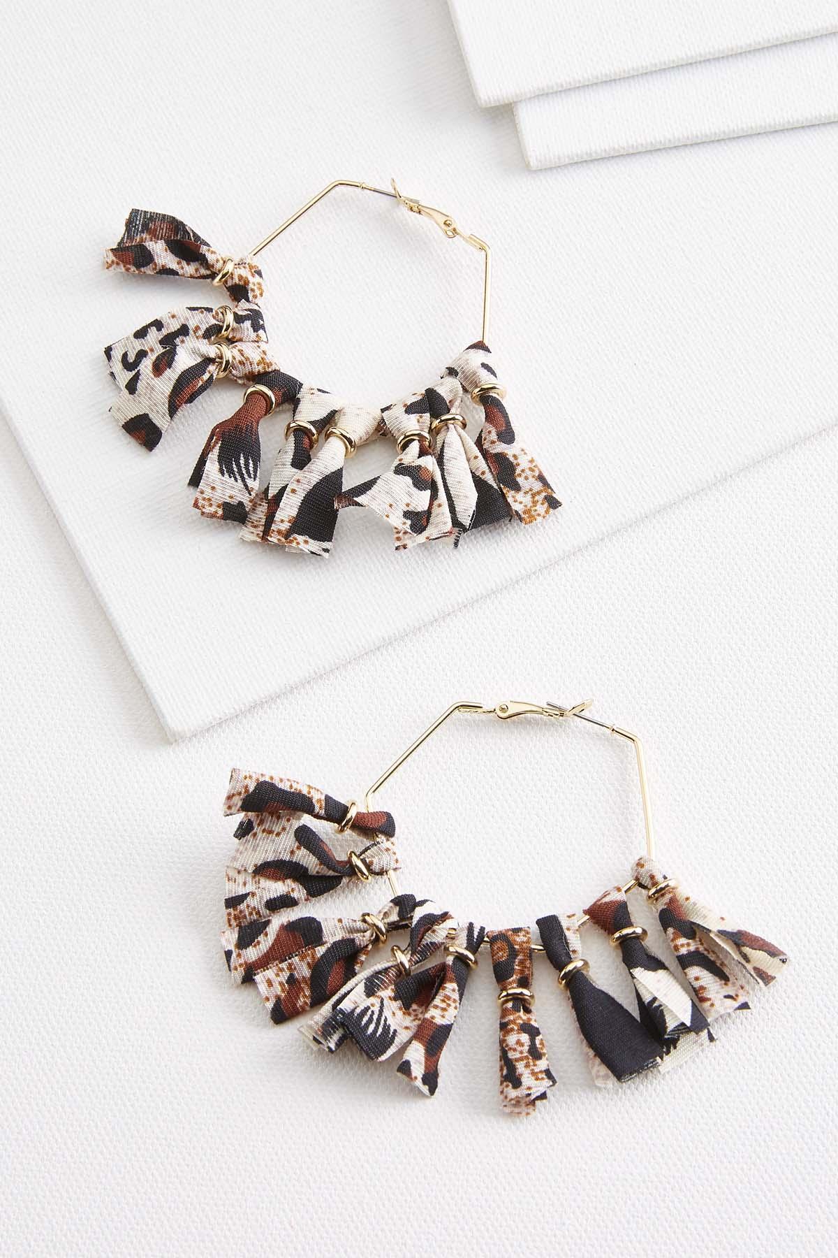 Fabric Fringe Hoop Earrings