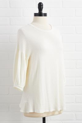 pancakes or waffle knit top