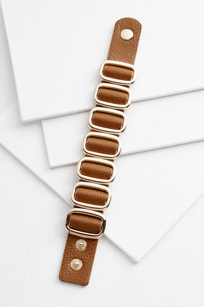 Faux Leather And Metal Snap Bracelet