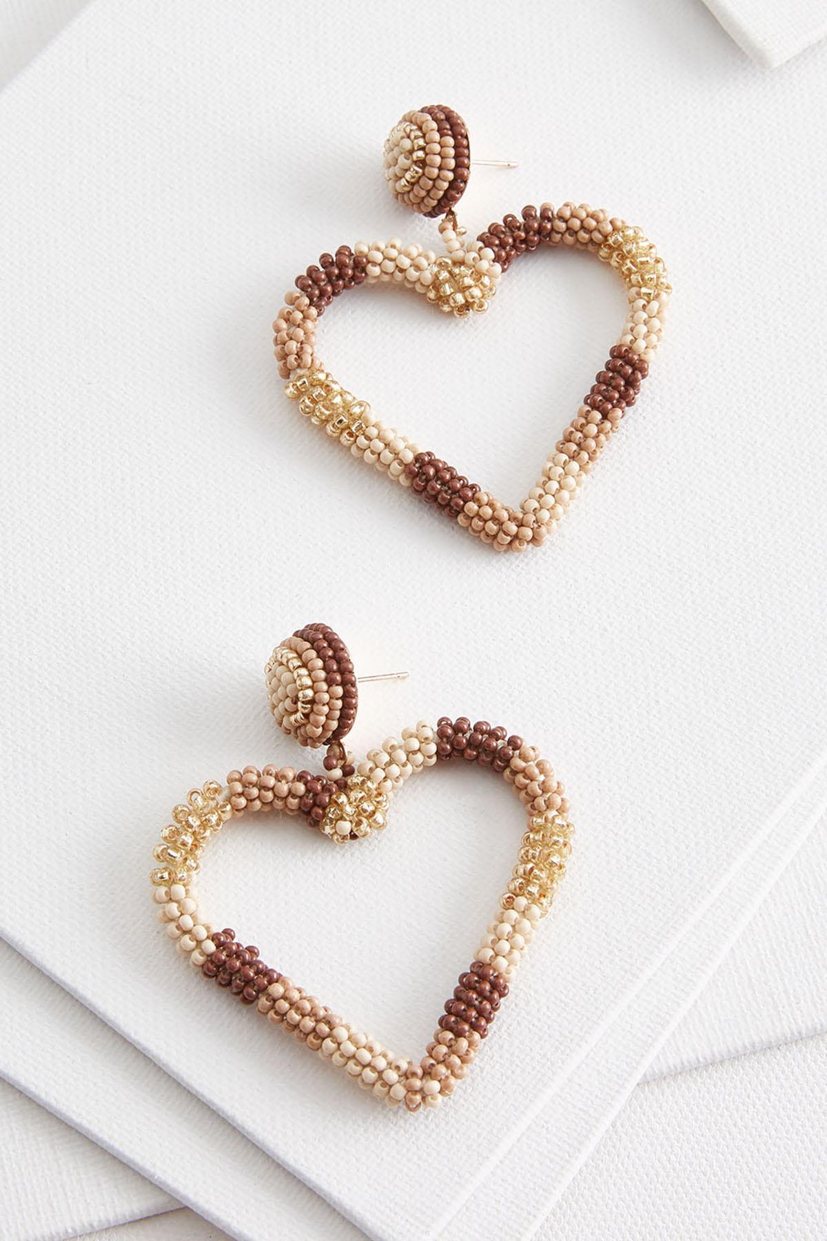Nude Heart Earrings