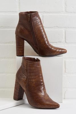 croco half moon heel ankle boots