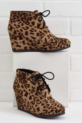 leopard lace up wedges