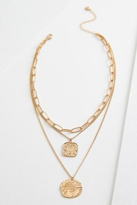 layered gold pendant necklace