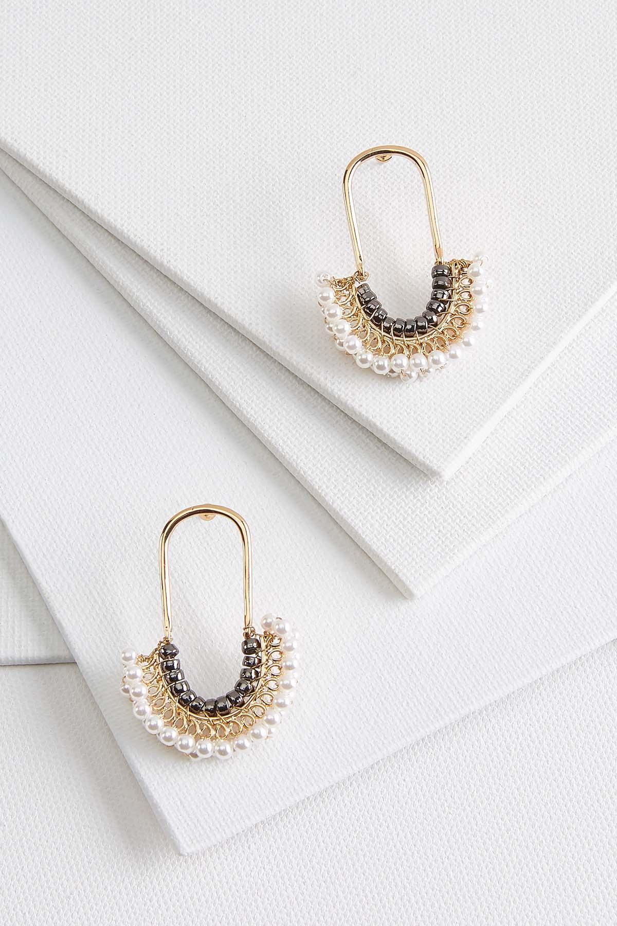 Pearly Bead U- Shaped Earrings