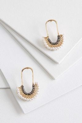 pearly bead u-shaped earrings