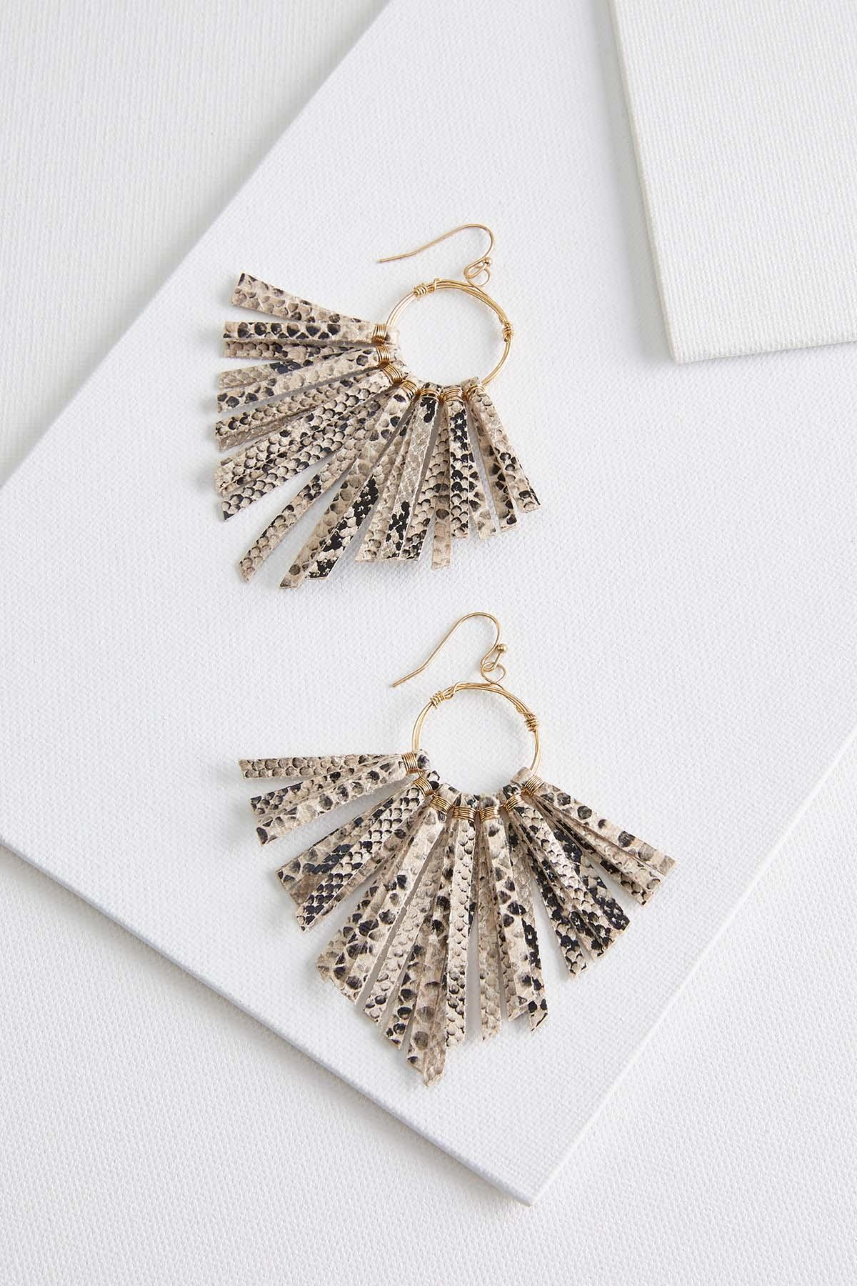 Faux Snake Fringe Earrings