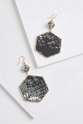 octagon snake textured earrings