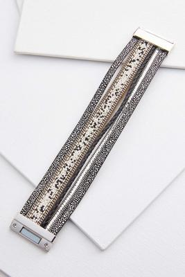 strappy metallic faux leather bracelet