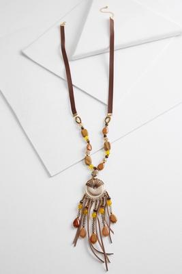 leather beaded tassel necklace