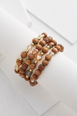 wooden bead bracelet set