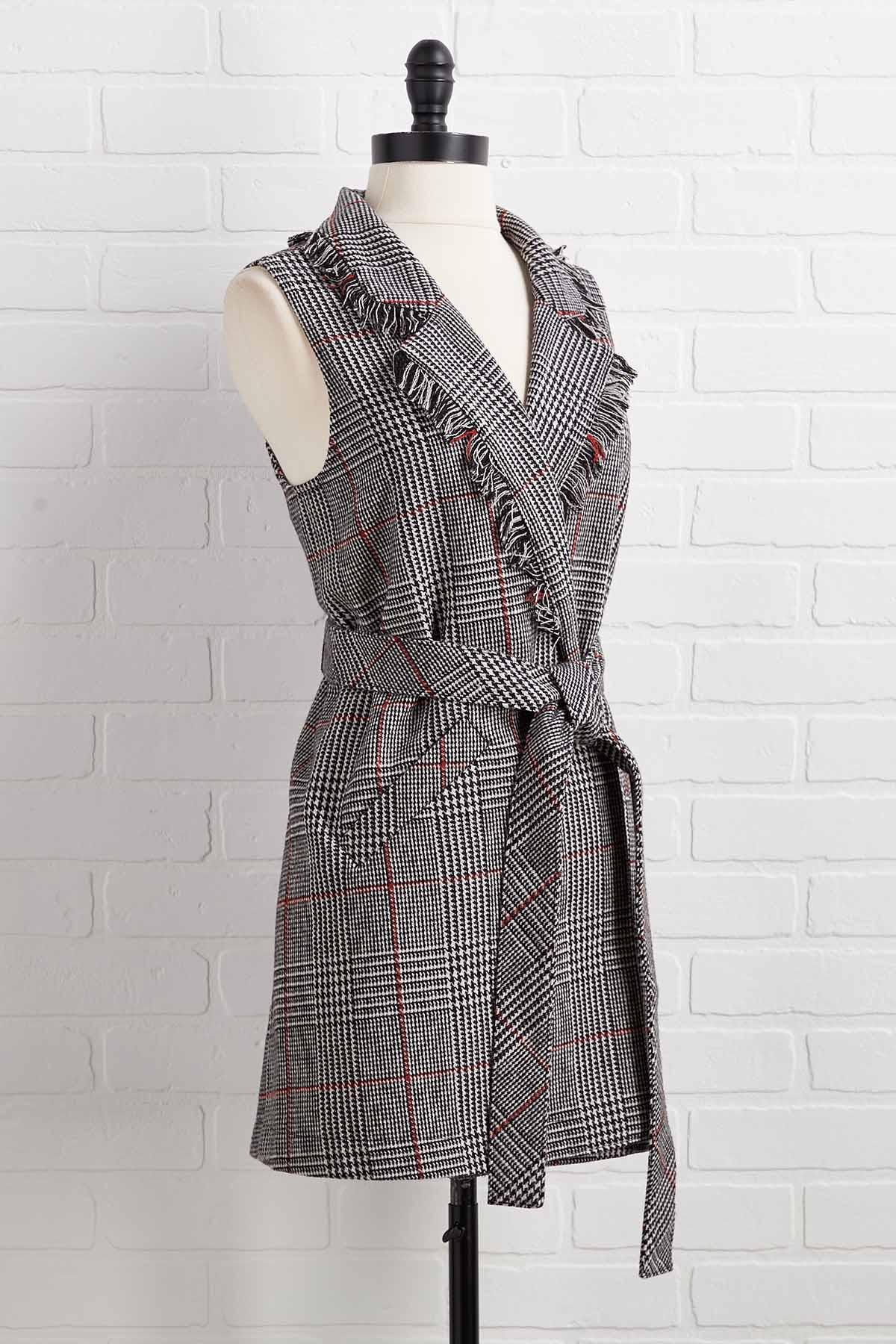 Frayed In The Shade Plaid Vest