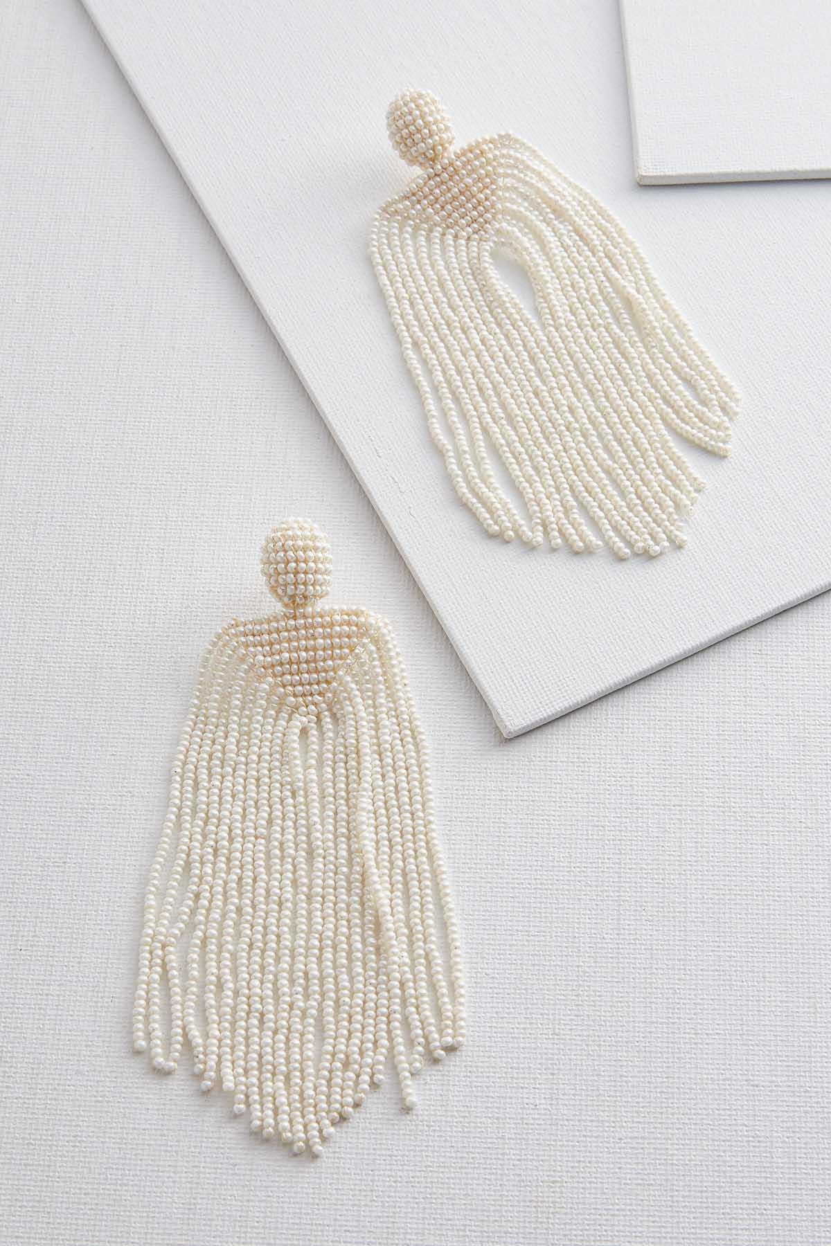 Pearly Fringe Statement Earrings