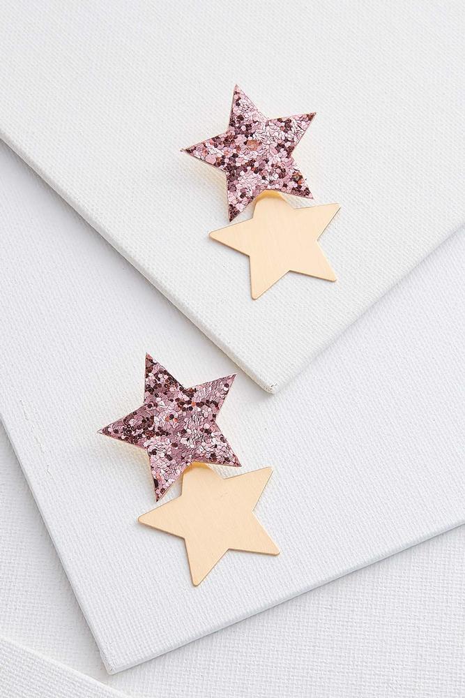 Glittered Double Star Earrings