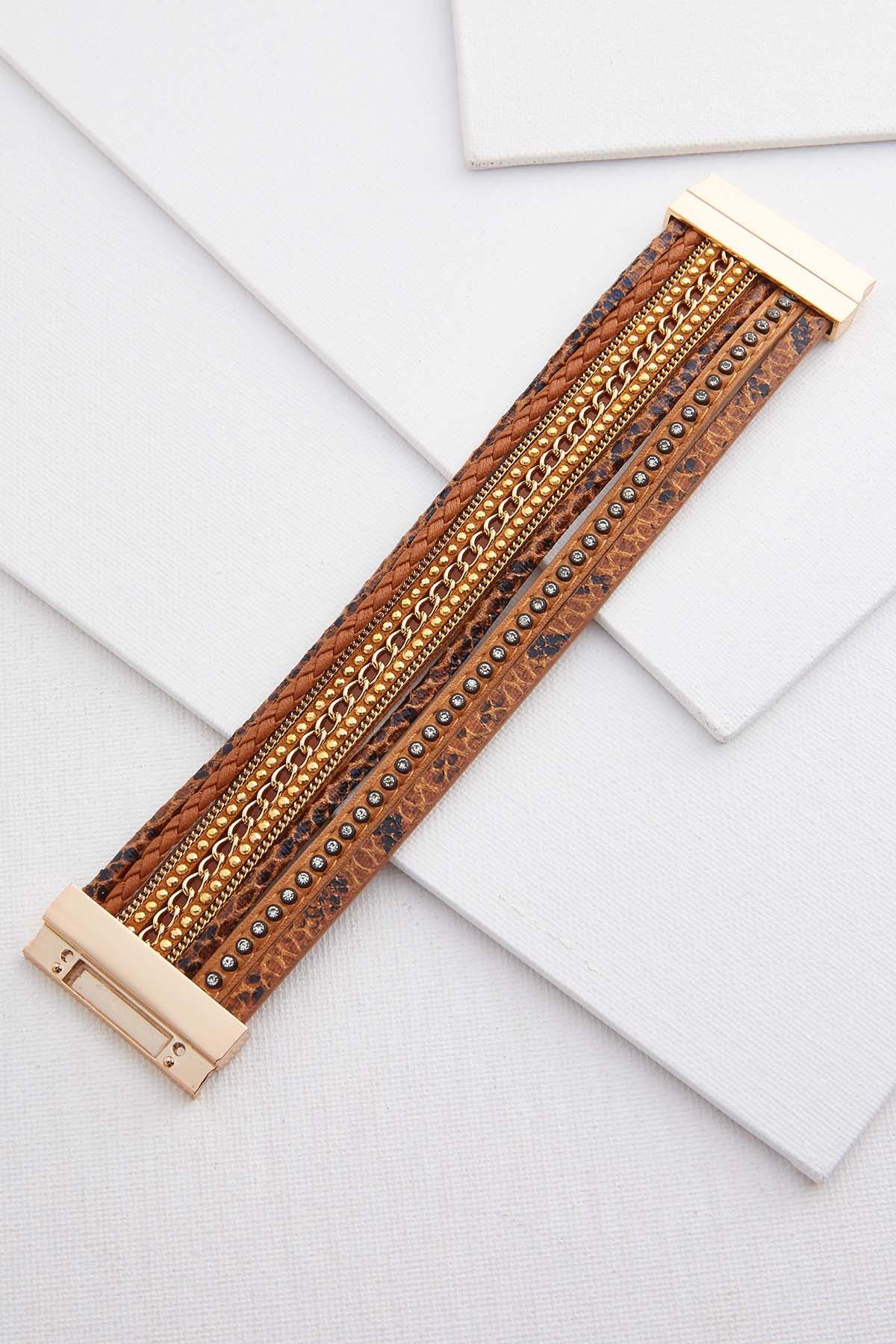 Glitzy Faux Leather Bracelet