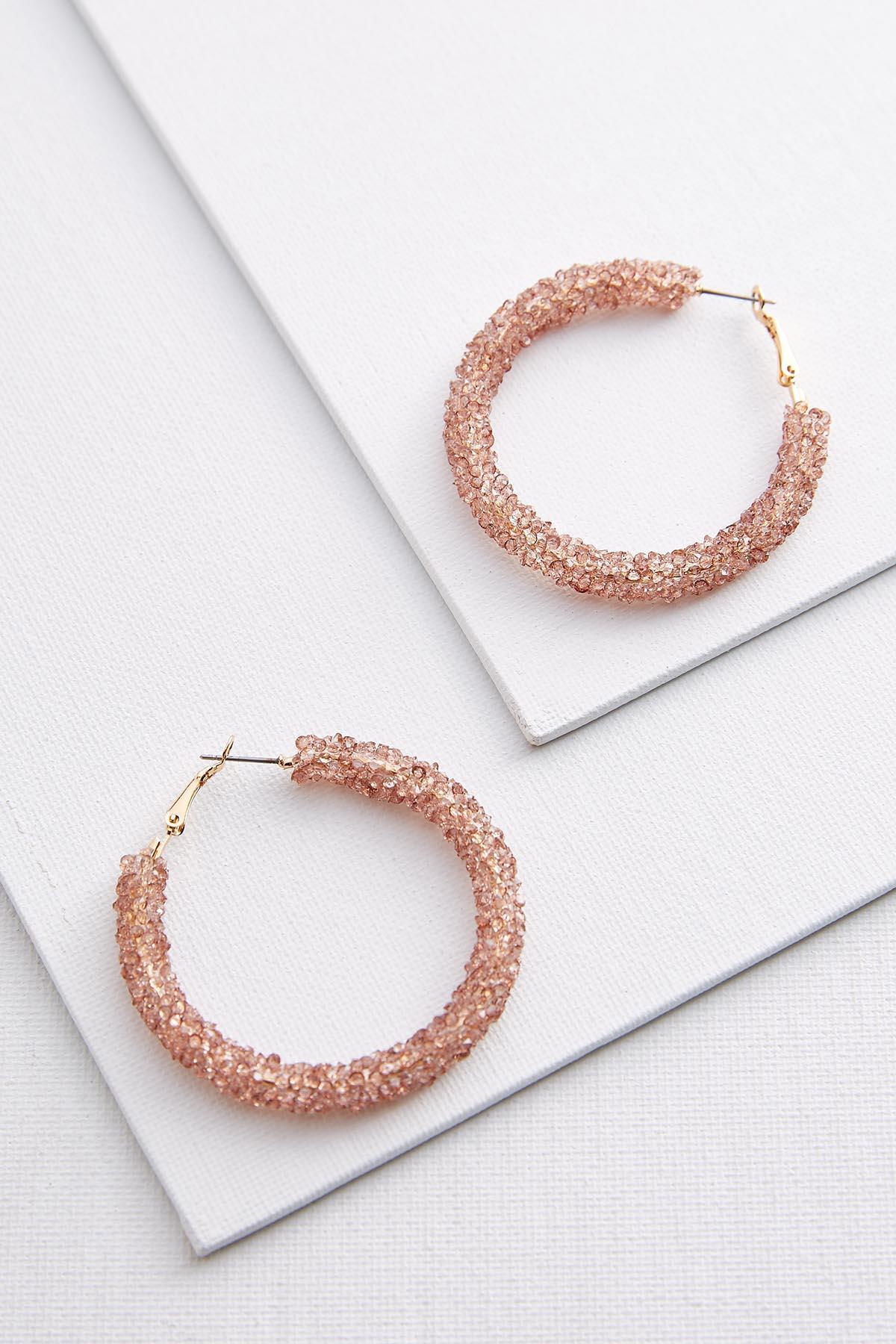 Blushing Crystal Hoop Earrings