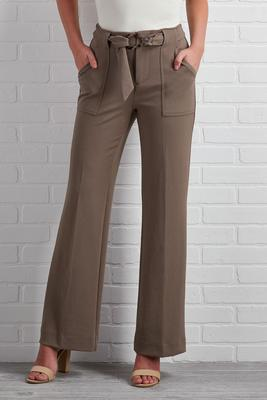 buckle up wide leg pants
