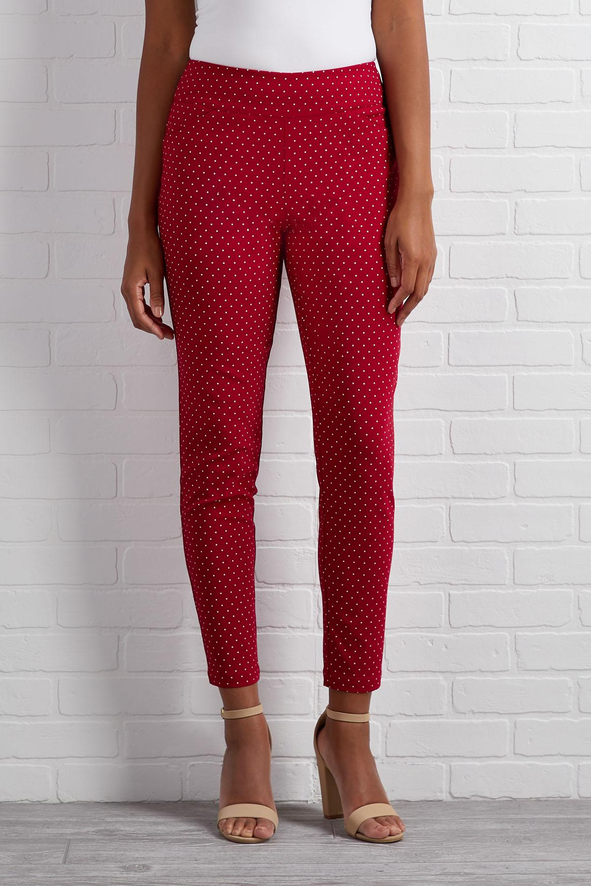 Bronze Dotted Red Pants