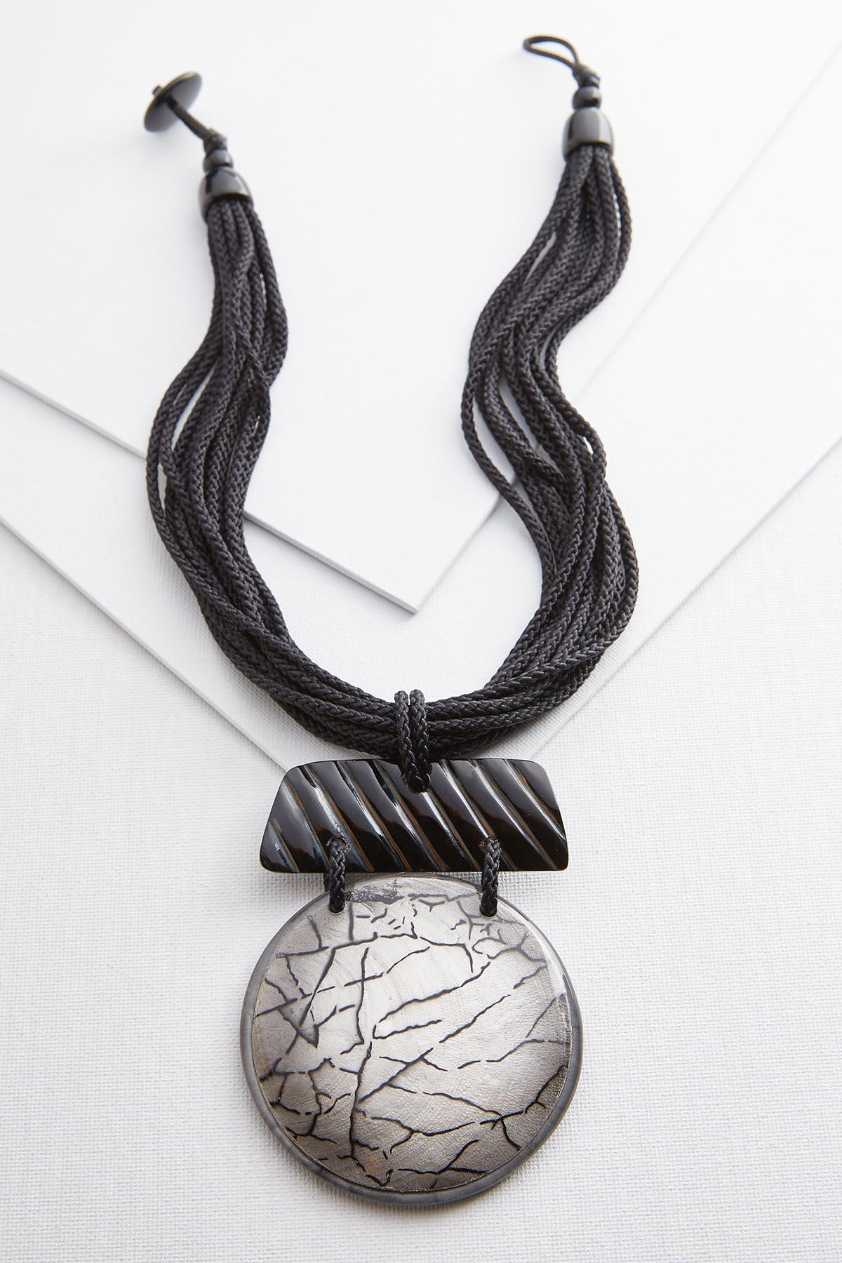 Crackle Lucite Pendant Necklace