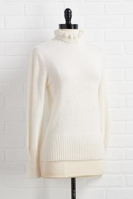 ruffle necks in line sweater