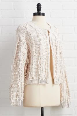 let`s be fringe cardigan