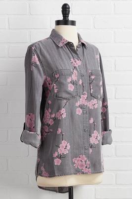 buttons and blossoms shirt