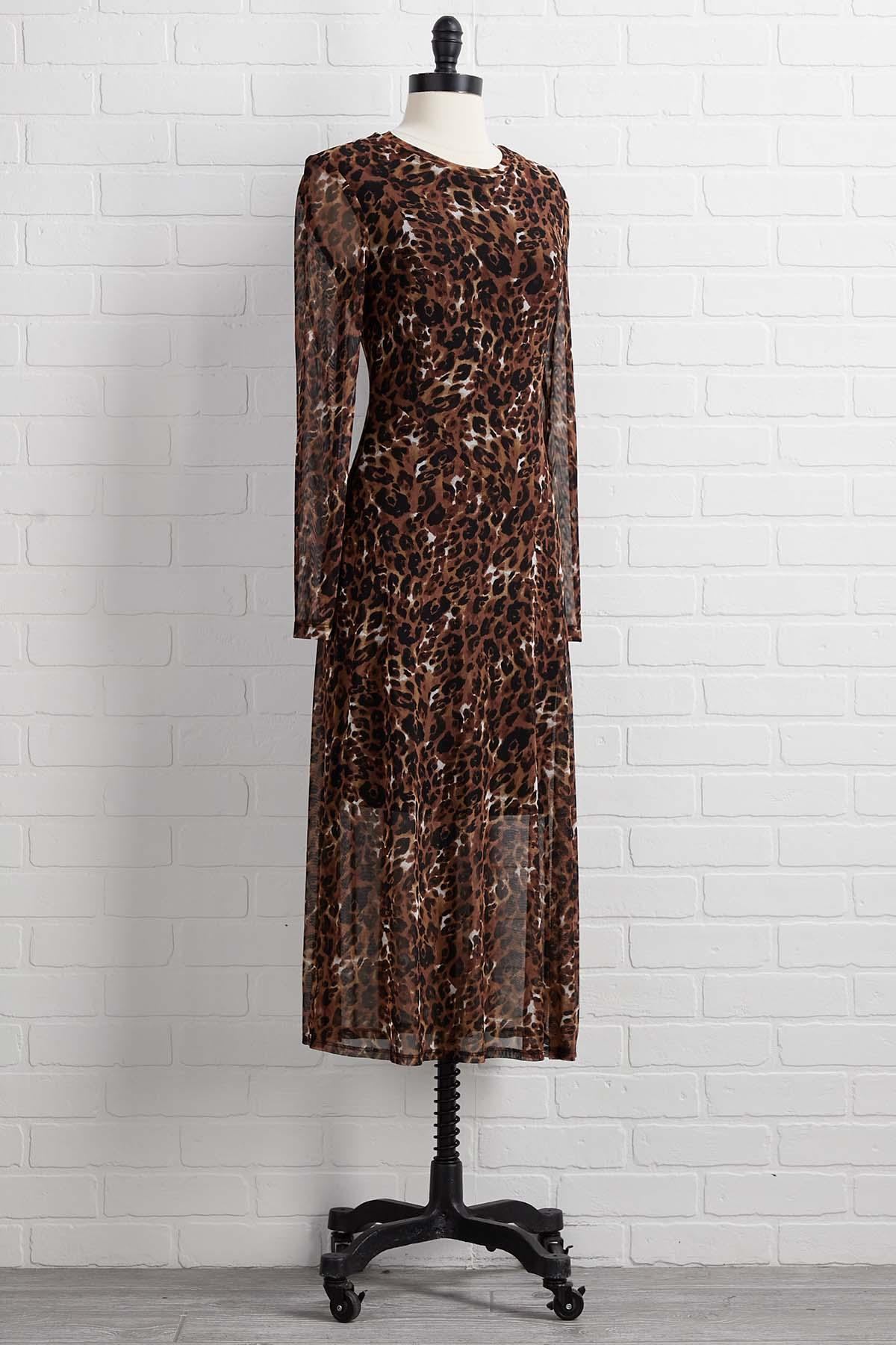 A Meshy Animal Midi Dress