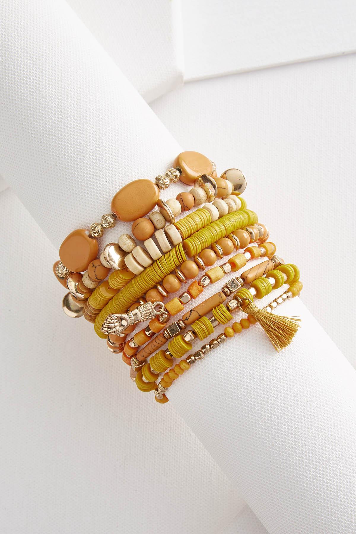 Mixed Wood Bead Bracelet Set