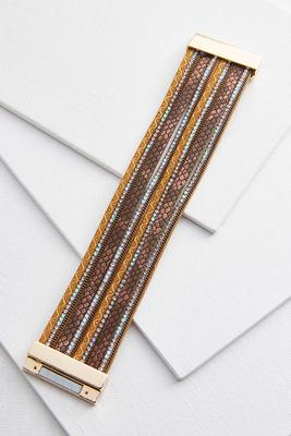strappy faux leather bling bracelet