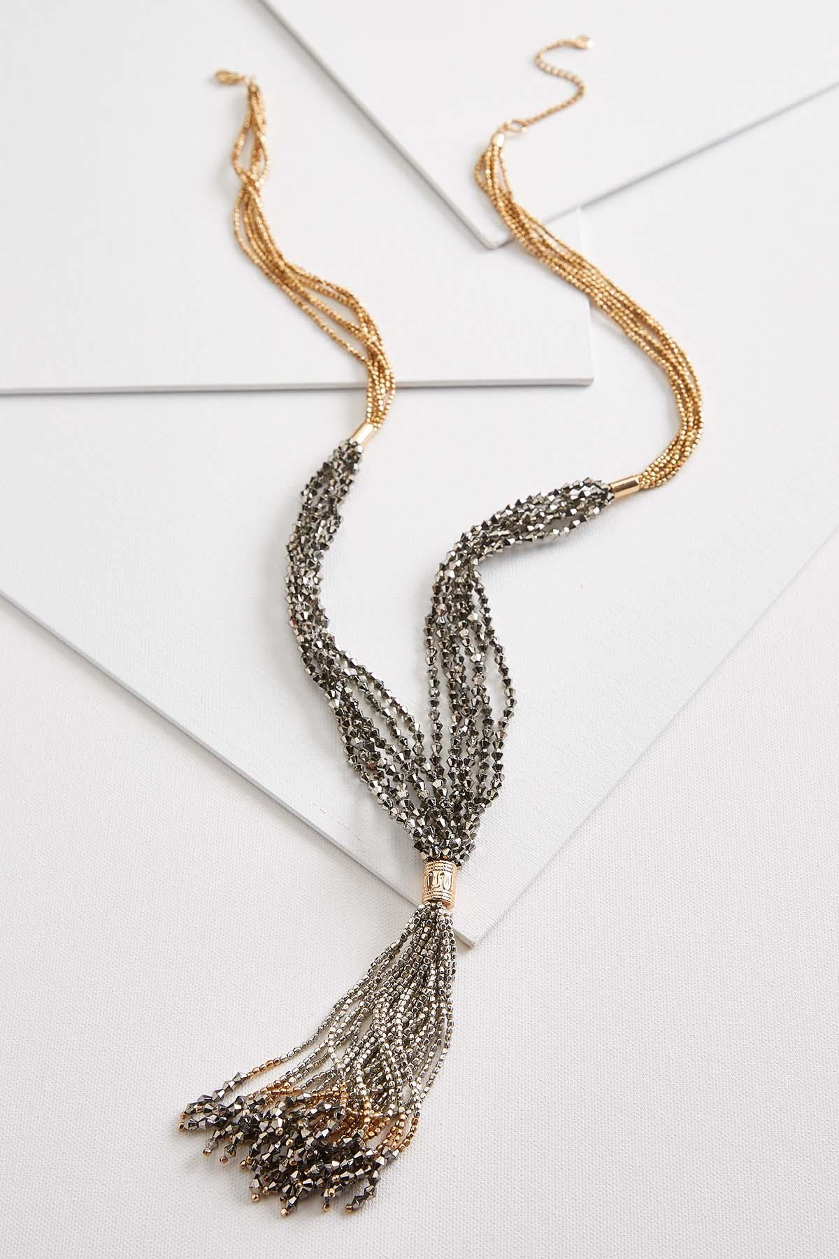 Metal Beaded Tassel Necklace