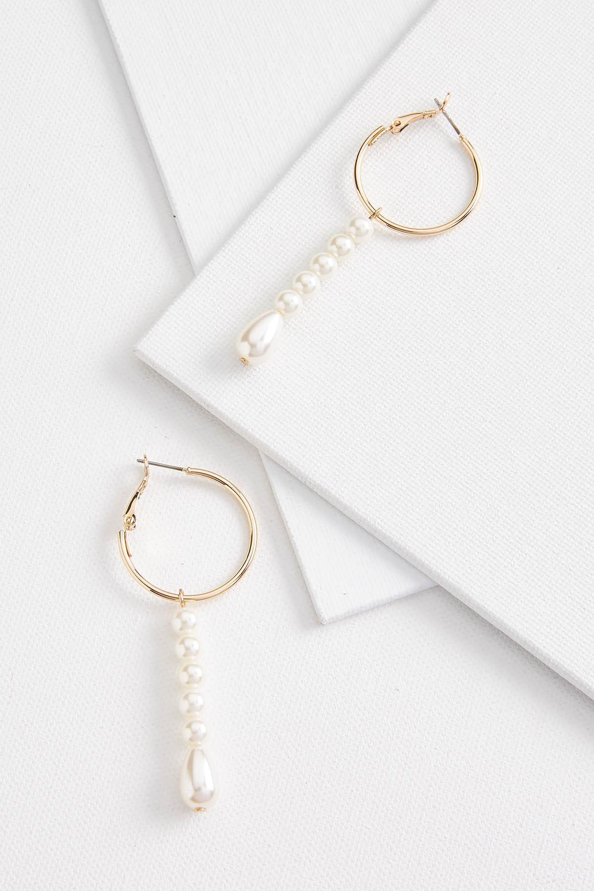 Linear Hoop And Pearl Earrings