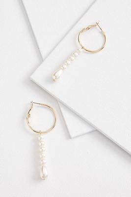 linear hoop and pearl earrings