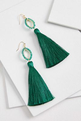 tasseled crystal bead earrings