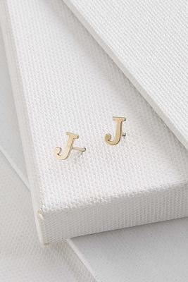 dainty initial j earrings