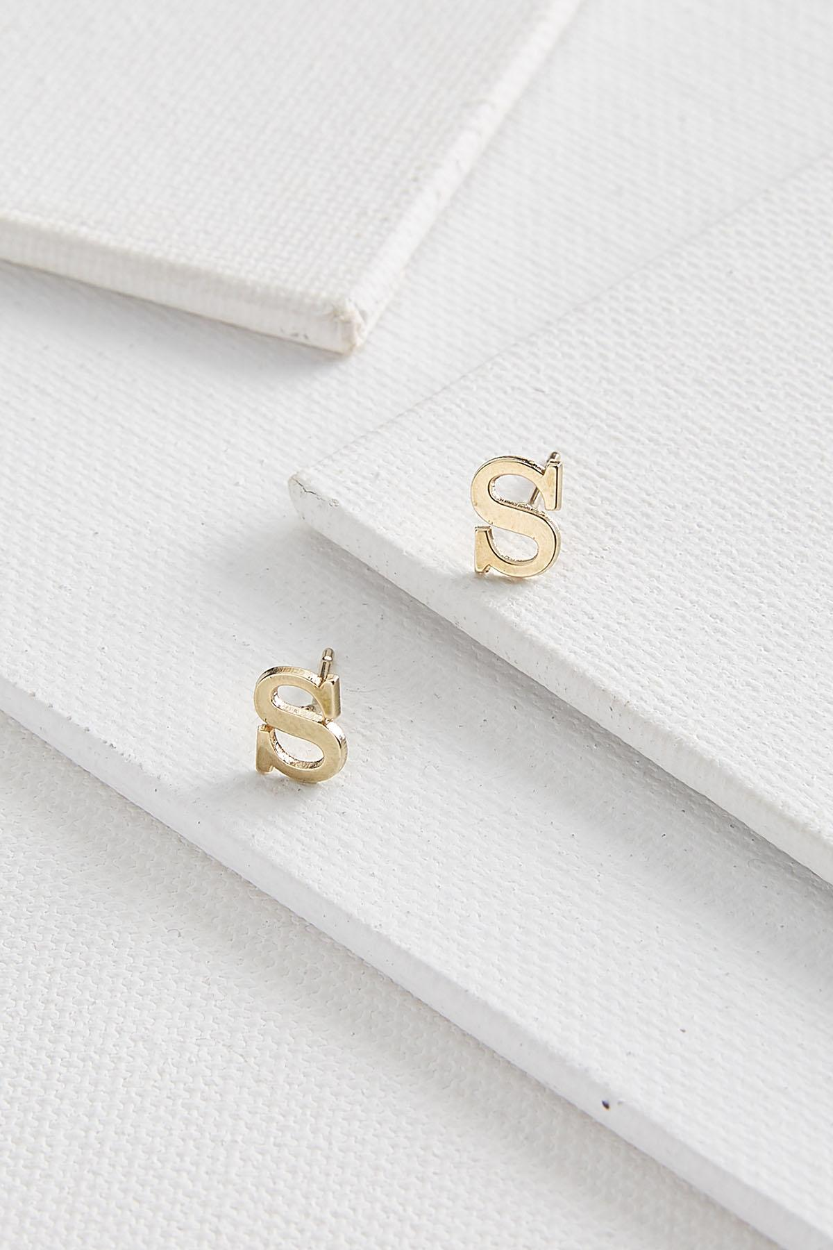 Dainty Initial S Earrings