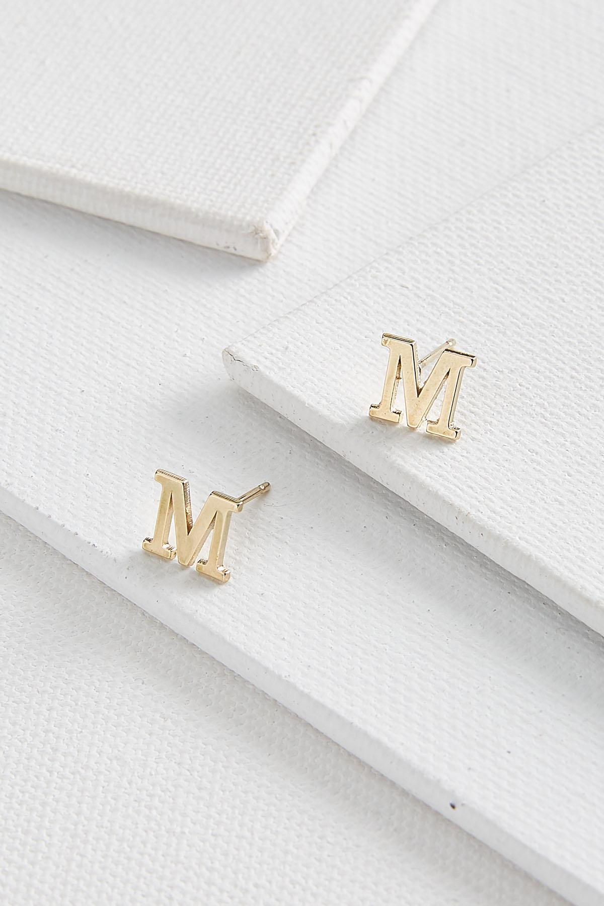 Dainty Initial M Earrings