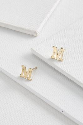 dainty initial m earrings