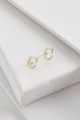 dainty initial c earrings
