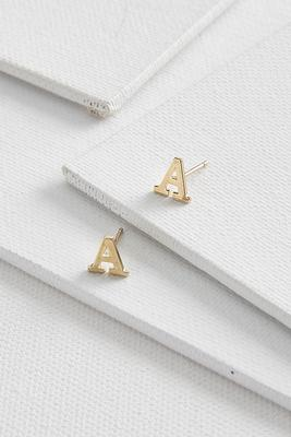 dainty initial a earrings