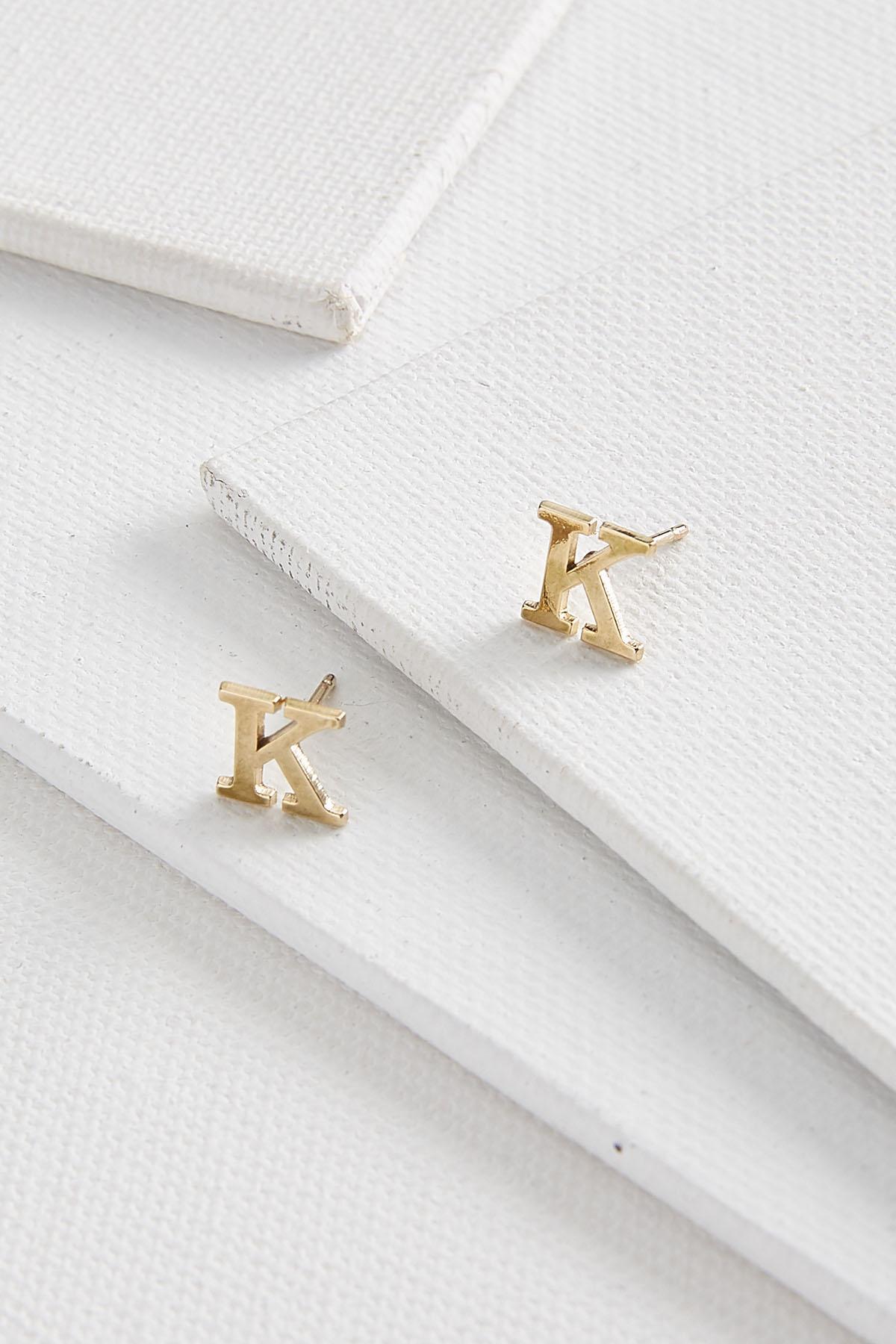 Dainty Initial K Earrings