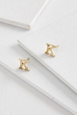 dainty initial k earrings