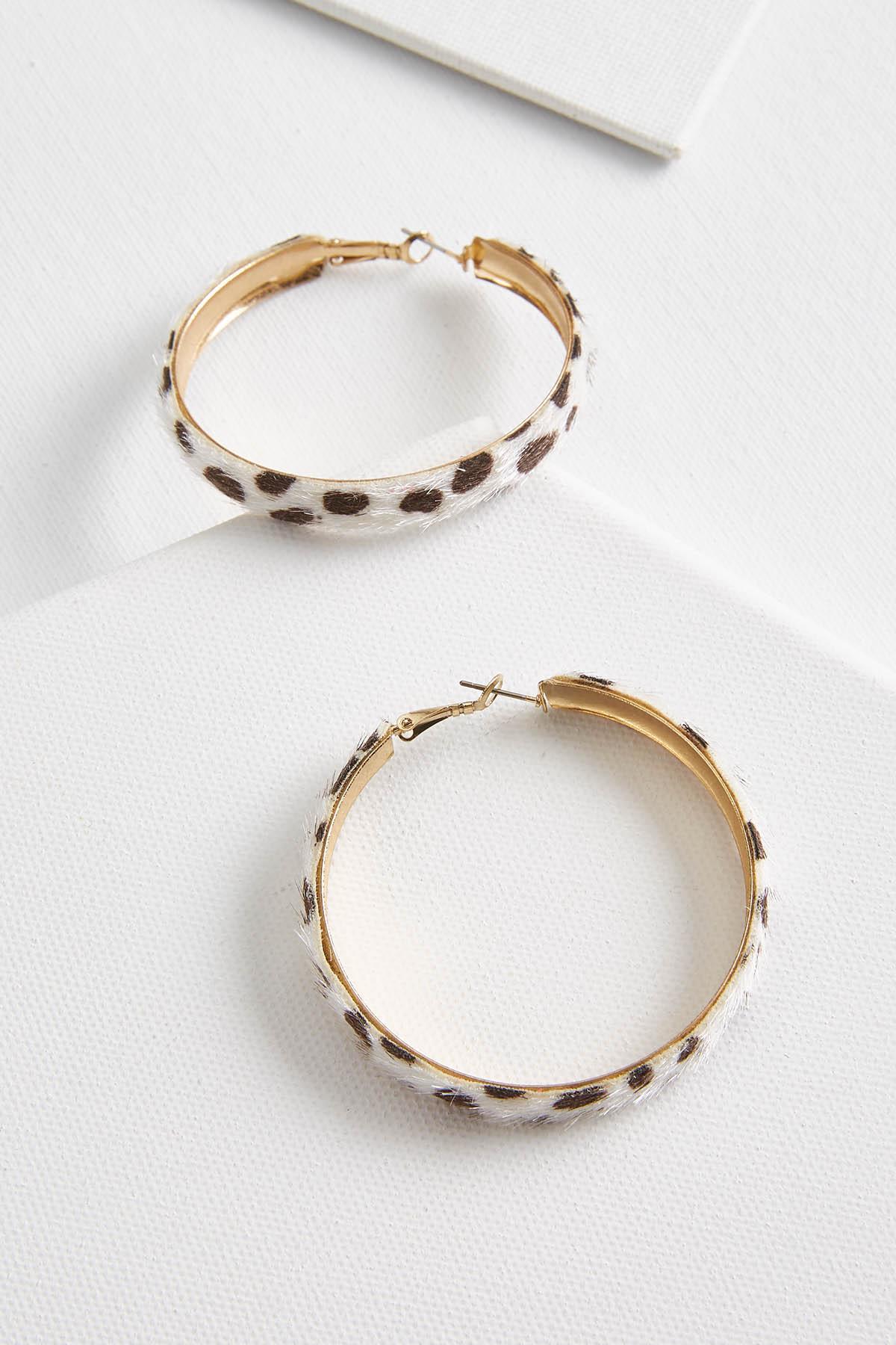 Textured Spotted Hoop Earrings