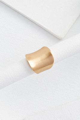 brushed gold shield ring